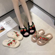 Fancy New Design Strawberry Pattern Crisscross Fluffy Slippers Flat Shoes and Slippers for Women