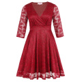 Hanna Nikole Plus Size Three Quarter Length Sleeve V-Neck Red Lace Women Dress HN0022-2