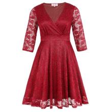 Hanna Nikole más tamaño de tres cuartos de longitud manga V-cuello rojo vestido de encaje mujeres HN0022-2