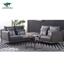 Chinese Natural and Comfortable Modern Style Black and White Leather / Fabric Leather Sofa Furniture