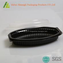 Recipiente de comida de microondas preto com tampas