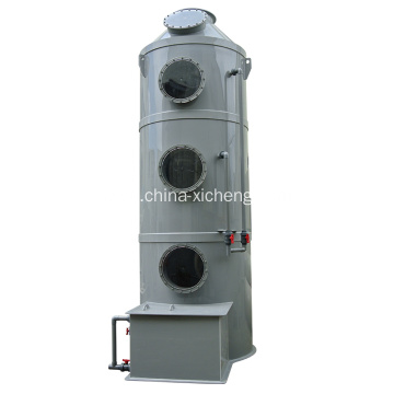 Exhaust gas scrubber for industrial off-gas treatment