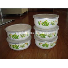 5 sets flower decals enamel ice bowl & enamels cookware with PE lid