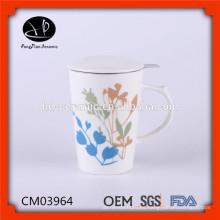 Taza de té de cerámica china con tapa, taza de té de cerámica con tapa, taza de cerámica con colador de acero inoxidable