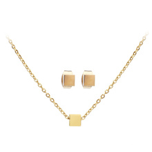 Stainless Steel Minimalist Cube Pendent Gold Plated Individual Earring Necklace Jewelry Set