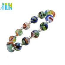 perlas millefiori de piedras preciosas que hacen pulseras de joyería