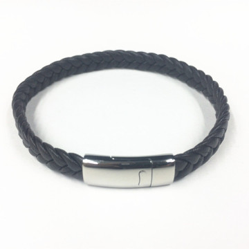 Fashion Stainlees Steel Clasp Braided Leather Bracelet