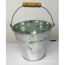 Metal round bucket with metal handle