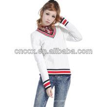 12STC0554 preppy Stil V-Ausschnitt Pullover Designs für Frauen