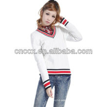 12STC0554 preppy style v-neck sweater designs for women