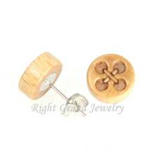 Organic Wood Earring Fashion Barbell Carved 14MM Barbell Earring