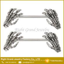 Surgcial Steel Nippel Ring / Emaille Skeleton Hands Bar Körperschmuck