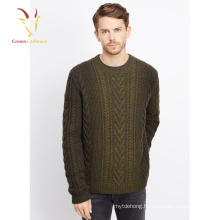 Mens Cashmere Wool Sweaters Handmade Cable Knitted Sweater For Men