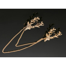 VAGULA Fashion Gold Plated Antlers Brooch Pin
