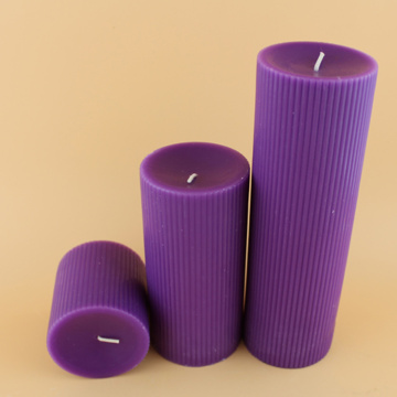 Purple Color Church Unscented Velas estriadas