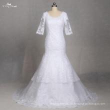 LZ177 Vestidos de boda de encaje de la vendimia de la media manga Vestidos de novia simples de la novia Vestido De Noiva