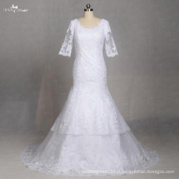 LZ177 Meia luva de vestidos de noiva Vintage Lace Vestido de noiva de noiva simples Vestido De Noiva