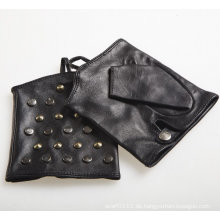 Lady Fashion Schwarz Schaffell Leder fingerlose Fahrhandschuhe (YKY5076-2)