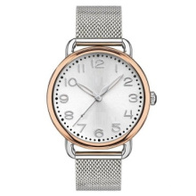 Fine 316L Montre-bracelet IP Lunette plaquée or rose 316L Net Band