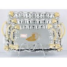 Edelstahl Serviertablett / Platte in Silber und Golden (LFC10709-1)
