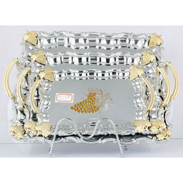 Bandeja de servicio de acero inoxidable / placa de plata y oro (LFC10709-1)