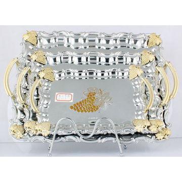 Bandeja de servir de aço inoxidável / prato em prata e dourado (LFC10709-1)
