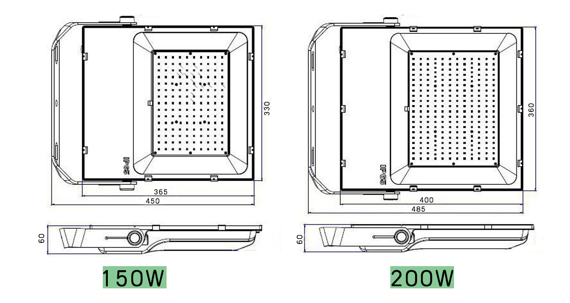 Meanwell driver LED Floodlight 200w size