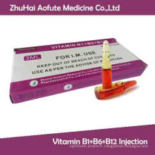 Injection de vitamine B1 + B6 + B12
