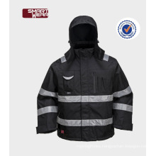 safety reflective waterproof worker wear Oxford winter jacket with hooded