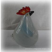 Белая подставка стеклянный петушок с голубой полосой -10ga03145