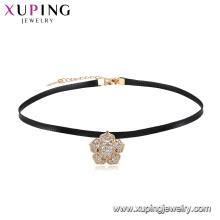 44472 xuping mode 18 k plaqué or dernière conception top vente belle fleur en cuir collier ras du cou pour les filles