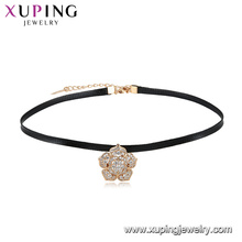 Fashion latest design top sale beautiful flower leather choker necklace for girls in 18k plating