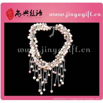 Collier de perle de pompon coloré à la main de bijoux Initial Fashion