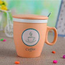 Cute Ceramic Coffee Milk Mug With Lid