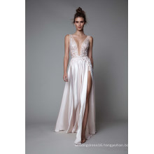 V Neckline Satin A Line Applique Prom Evening Dress