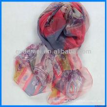 Écharpe longue en mousseline de soie design personnalisé