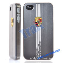 Super Quality Sports Car PORSCHE Brushed Metal Aluminum Hard Cover Plastic Frame Case for iPhone 4, 4S(Gray)