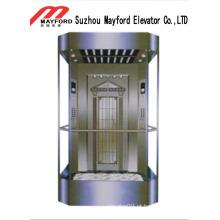 Elevador panorâmico da forma quadrada com sala da máquina