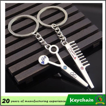 Barber Tools Comb and Scissor Key Chain for Couples