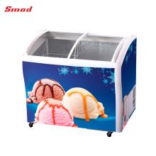 Eis-Gefrierschrank-Glasoberseiten-Tiefkühltruhen, die Glastürkühlschränke schieben