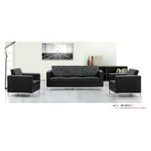 Black Modern Office Sofa with Stainless Steel Frame (8513-2)