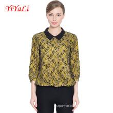 Camisa de las mujeres de la manga de la blusa del estilo del cordón del OEM de la manera del verano del OEM