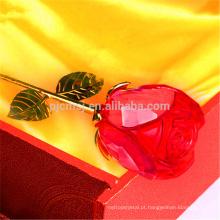 Atacado elegante romântico flor rosa de cristal para valentine'sday