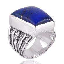 Lapis Lazuli Gemstone en couleur royale avec 925 Sterling Silver Ring For Him