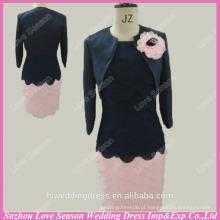 RP0046 Saia manga longa preta e saia rosa com jaqueta comprimento do joelho curta amostra real vestido de baile de duas peças vestidos de baile