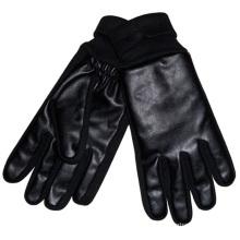 Herrenmode Acryl Gestrickte Manschette PU-Leder Warme Handschuhe (YKY5002)