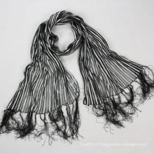 Nouvelle écharpe à rayures européenne de style musulman Hijab Nylon