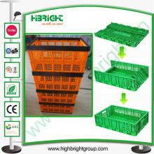 Contenedor ventilado de almacenamiento plegable de plástico