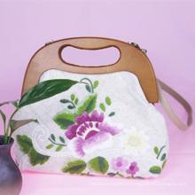 Hand-bordado bolsa feminina simples saco de pano