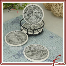 China Fábrica de porcelana de cerámica Coasters con titular de hierro